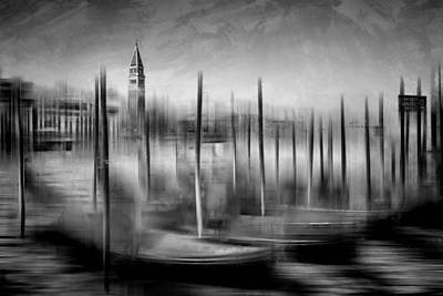 City-art Venice Grand Canal And St Mark's Campanile Monochrome Art Print by Melanie Viola