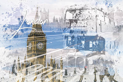 City Art Westminster Collage Art Print by Melanie Viola