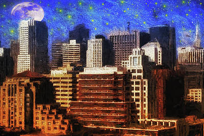 Photograph - City At Night by Nancie Rowan
