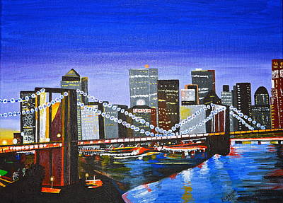 Painting - City At Twilight by Donna Blossom