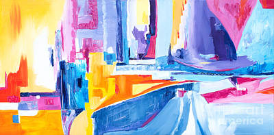 Painting - City At Waters Edge by Expressionistart studio Priscilla Batzell