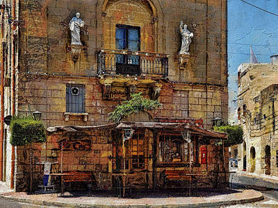 Digital Art - City Bar, Mosta, Malta by Leigh Kemp