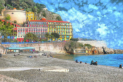 Digital Art - City Beach At Nice by Yury Malkov