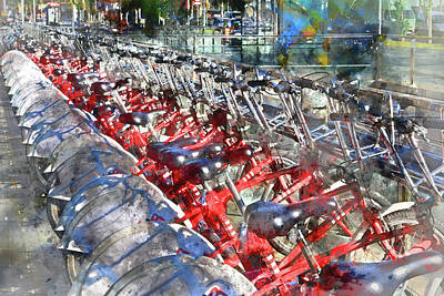 Photograph - City Bicycles In Barcelona by Brandon Bourdages