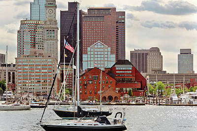 Photograph - City - Boston Ma - Harbor Walk Skyline by Mike Savad