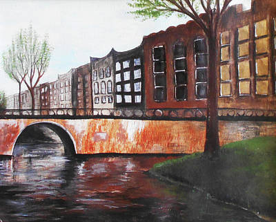 Mixed Media - City Bridge by Angela Stout