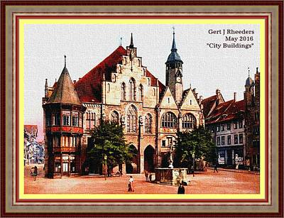 City Buildings L A With Decorative Ornate Printed Frame. Art Print by Gert J Rheeders