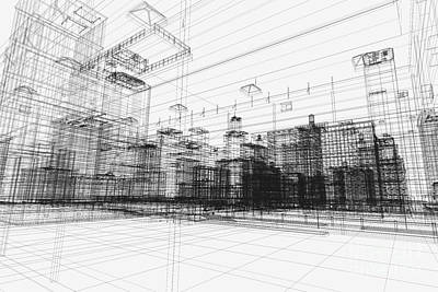 Architect Photograph - City Buildings Project 3d by Michal Bednarek