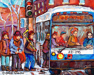 Painting - City Bus Scene Paintings Montreal Winter Scenes Plateau Mont Royal To Verdun Streetscenes C Spandau  by Carole Spandau