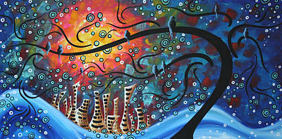 Modern Landscape Painting - City By The Sea By Madart by Megan Duncanson