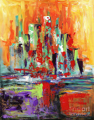 Painting - City By The Sea by Elena Feliciano