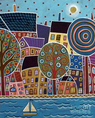 Folk Art Painting - City By The Sea by Karla Gerard