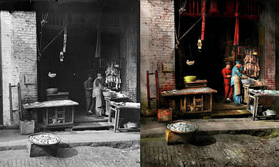 Photograph - City - California - Fish Alley Smells Fowl 1886 - Side By Side by Mike Savad