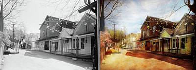 Photograph - City - California - The Town Of Downieville 1933- Side By Side by Mike Savad