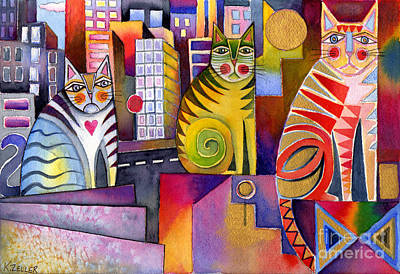 City And Colour Painting - City Cats 2 by Karin Zeller