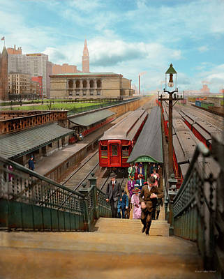Photograph - City - Chicago - The Van Buren Street Station 1907 by Mike Savad