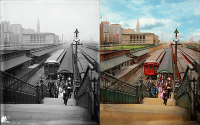 Photograph - City - Chicago - The Van Buren Street Station 1907 - Side By Side by Mike Savad