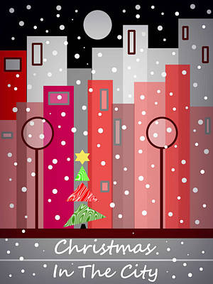 Digital Art - City Christmas Snowfall by Kathleen Sartoris