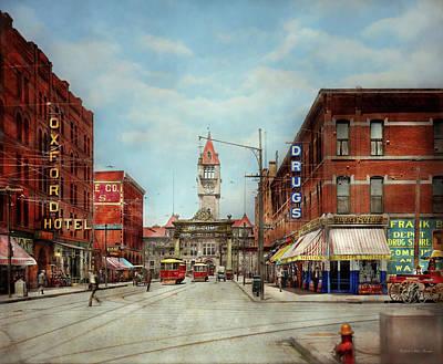 City - Denver Colorado - Welcome To Denver 1908 Art Print by Mike Savad