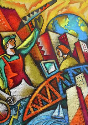 Painting -  City Development by Leon Zernitsky