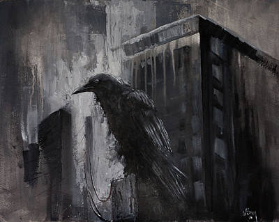 Painting - City Dweller Raven Dark Gothic Crow Wall Art by Gray Artus