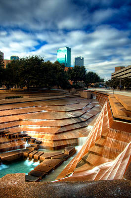 Fountain Photograph - City Falls - Fort Worth Water Garden  by Brian Orlovich