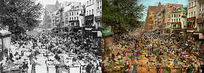 Photograph - City - France - Les Halles De Paris 1920 - Side By Side by Mike Savad