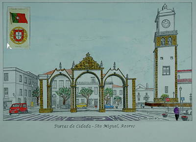 Drawing - City Gates, San Miguel,azores by William Goldsmith