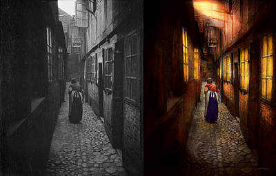 Path In Life Photograph - City - Germany - Alley - A Long Hard Life 1904 - Side By Side by Mike Savad