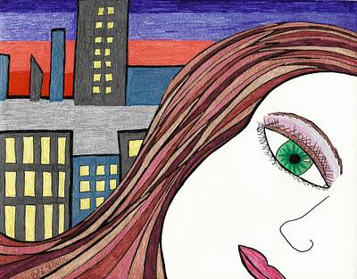 City Sunset Drawing - City Girl by Briah L Ryan