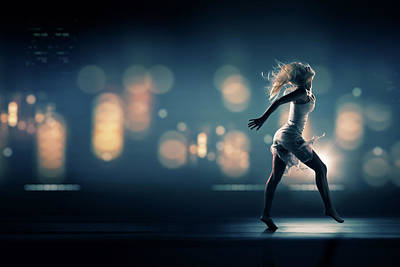 Running Photograph - City Girl by Johan Swanepoel