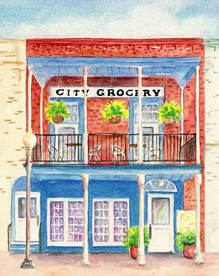 Painting - City Grocery Oxford Mississippi  by CarlinArt Watercolor