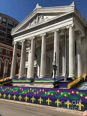 City Hall Digital Art - City Hall Adorned For Mardi Gras by Terri Rhea