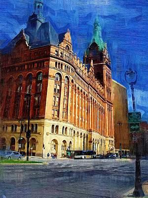 Digital Art - City Hall And Lamp Post by Anita Burgermeister