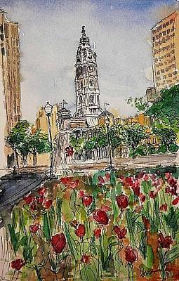 Wall Art - Painting - City Hall And Love Park by Elissa Poma