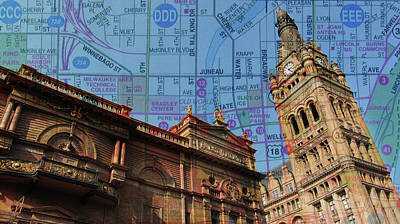 Photograph - City Hall And Pabst Theater Rooflines W Map by Anita Burgermeister