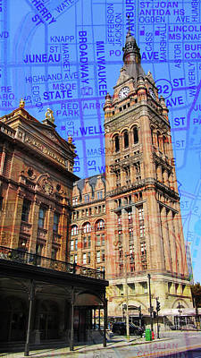 Photograph - City Hall And Pabst Theater W Map by Anita Burgermeister
