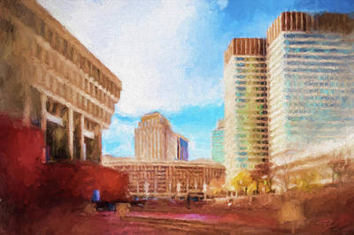 Painting - City Hall At Government Center by Thomas Logan