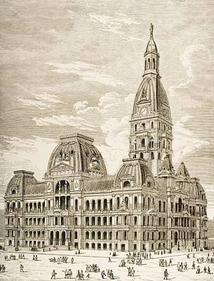 City Hall, Chicago, Illinois In 1870s Art Print by Vintage Design Pics