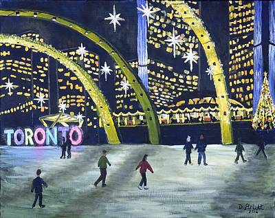 Painting - City Hall Christmas by Diane Arlitt