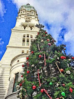 Photograph - City Hall Christmas Tree by Alice Gipson