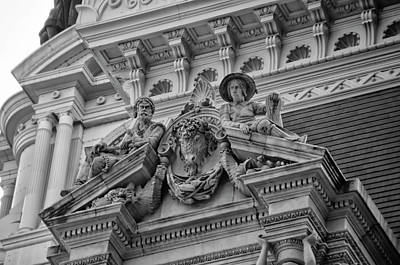 Photograph - City Hall In Philadelphia - Window Ediface In Black And White by Bill Cannon