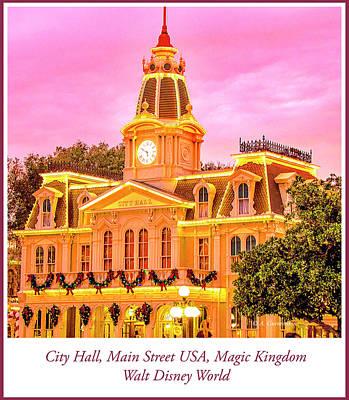 City Hall Digital Art - City Hall, Main Street Usa, Magic Kingdom, Walt Disney World by A Gurmankin