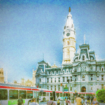 Philadelphia Mixed Media - City Hall by Marvin Spates