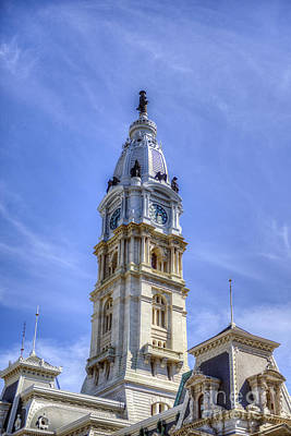 Photograph - City Hall Tower Ben Franklin Statue by David Zanzinger