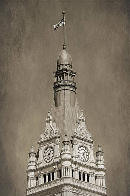 Photograph - City Hall Tower  - Black And White by Susan McMenamin