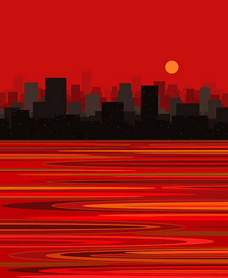 Digital Art - City In Red - Moon Over Manhattan by Val Arie