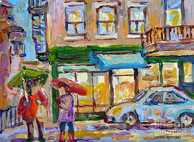 Painting - City In The Rain Late Afternoon At Bakery Rue St Viateur Montreal Canadian Art Carole Spandau        by Carole Spandau