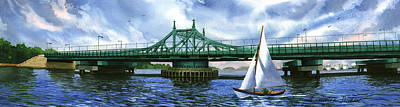 Sailboat Painting - City Island Bridge Summer by Marguerite Chadwick-Juner