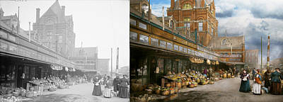 City Photograph - City - Kansas City Farmers Market - 1906 - Side By Side by Mike Savad